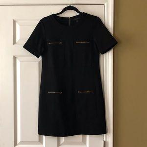 Short sleeve black wool blend dress